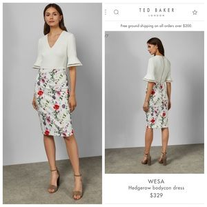 NWT- Chic Ted Baker Wesa Hedgerow Bodycon Dress